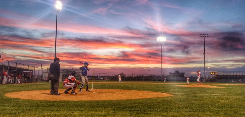 baseball sunset